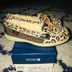 Sperry Angelfish Leopard Pony Hair Boat Shoes